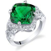 Cushion Cut Emerald Halo Ring in Sterling Silver