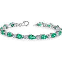 Emerald and CZ Tennis Bracelet in Sterling Silver