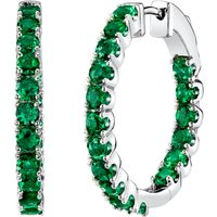 Emerald Eternity Hoop Earrings in Sterling Silver