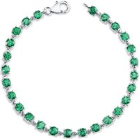 Emerald Tennis Bracelet in Sterling Silver