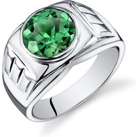 Men's Emerald Ring in Sterling Silver