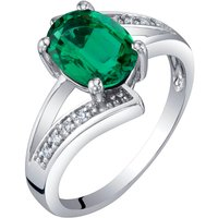 Oval Cut Emerald & Diamond Engagement Ring in 9ct White Gold