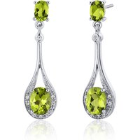 Peridot & CZ Drop Earrings in Sterling Silver