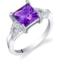 Princess Cut Amethyst Sweetheart Ring in Sterling Silver