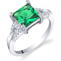 Princess Cut Emerald Sweetheart Ring in Sterling Silver