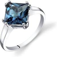Princess Cut London Blue Topaz Ring in 9ct White Gold