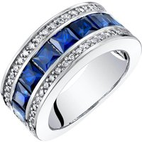 Princess Cut Sapphire & CZ Three Band Ring in Sterling Silver