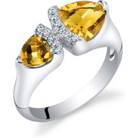 Trillion Cut Citrine Two Stone Ring in Sterling Silver