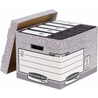 Fellowes Bankers Box Cardboard Storage Box Medium-Duty Pack of 2, Grey