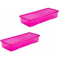 Click to view product details and reviews for Wham Crystal Boxes 55 Litre Pack Of 2 Pink.