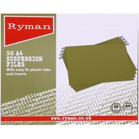 Image of Ryman Suspension Files A4 Pack of 50, Green