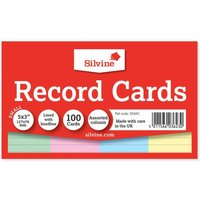 Silvine Record Cards Ruled 127x77mm Pack of 100, Assorted
