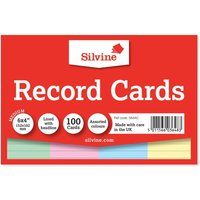 Silvine Record Cards Ruled 152x101mm Pack of 100, Assorted