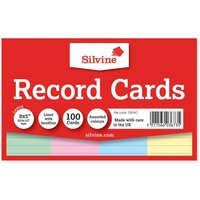 Silvine Record Cards 204x127mm Ruled Pack of 100, Assorted