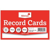 Silvine Record Cards 127x77mm Plain Pack of 100, White