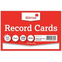 Silvine Record Cards 152x101mm Plain Pack of 100, White