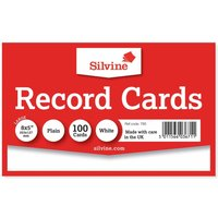 Silvine Record Cards 204x127mm Plain Pack of 100, White