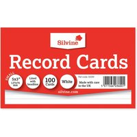 Click to view product details and reviews for Silvine Record Cards 126x77mm Ruled Pack Of 100 White.
