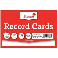 Silvine Record Cards 152x101mm Ruled Pack of 100, White