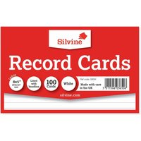 Silvine Record Cards 204x127mm Ruled Pack of 100, White