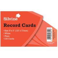 Silvine Record Cards Plain 5x3 Pack of 1000 White, White