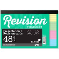 Revision and Presentation Cards Ruled Pack of 48, Coloured