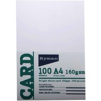 Ryman Card A4 160gsm 100 Sheets Pack of 3, White