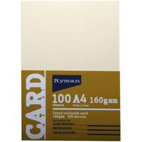 Ryman Card A4 160gsm 100 Sheets Pack of 3, Ivory