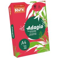 Adagio Ream of Bright Coloured Copier Paper A4 80gsm 500 Sheets, Red