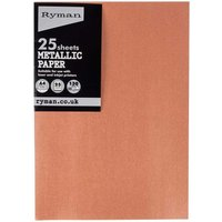 Ryman Metallic Paper A4 Pack of 25, Rose Gold
