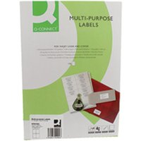 Image of Q-Connect Label 4 Per A4 Sheet Pack 100 White, White