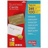 Decadry Inkjet Business Cards Clean Edge Pack of 100, White