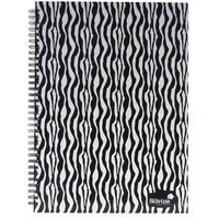 Silvine Fashion Zebra Twin Wire A4 Notebooks 140 Pages 70 Sheets Pack of 5
