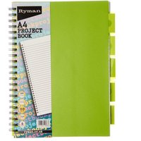 Ryman Colour Brights Project Book 250 Pages A4 5 Dividers, Lime