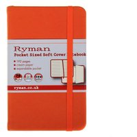 Ryman Soft Cover Notebook Pocket 192 Pages 96 Sheets, Orange at Ryman Stationery