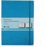 Ryman Soft Cover Notebook Large Ruled 192 Pages 96 Sheets, Teal