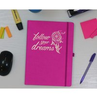 Image of Ryman Soft Cover Large Ruled Notebook Follow Your Dreams in Gold Foil, Pink