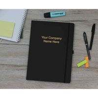 Ryman Soft Cover Notebook Medium Ruled 192 Pages Black Personalised with Foiling, Black