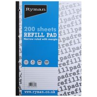 Image of Ryman Refill Pad A4 Narrow Ruled With Margin 400 Pages 200 Sheets
