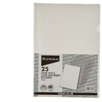 Image of Ryman Translucent Document Holder A4 100 Micron Pack of 25 Clear, Clear