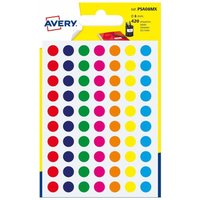 Avery Self Adhesive Labels Dots 8mm Pack of 490, Assorted