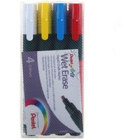 Image of Pentel Chalk Marker Pack of 4 Chisel Tip Assorted Colours, Red Blu Wht Yell