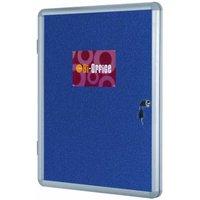 Image of Bi-Office Display Case Felt Backed Lockable 600x450mm, Blue