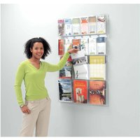 Metroplan All Clear Wall Mounted Leaflet Dispenser 12 x DL Tri-fold, Clear