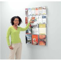 Metroplan All Clear Wall Mounted Leaflet Dispenser 12 x DL Tri-fold and 6 x A4, Clear