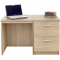 Image of R White Home Office Desk Set with Two Drawers, Sandstone