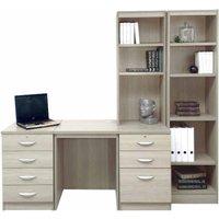 R White Home Office Desk with Side Shelving, Grey Nebraska