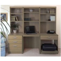 R White Home Office Desk Workstation, English Oak