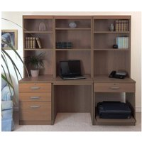 R White Home Office Desk Workstation, Teak