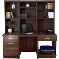 R White Home Office Desk Workstation, Walnut